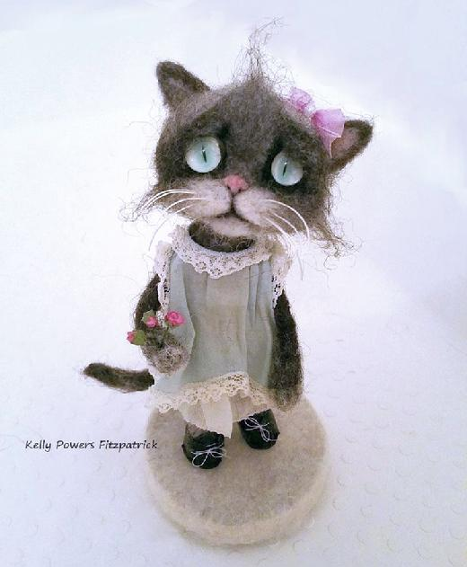 Artist:  Kelly Powers Fitzpatrick - Needle Felted Cat